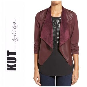 Lincoln Faux Leather Drape Front Jacket